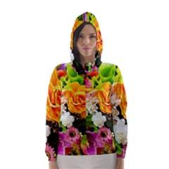 Colorful Flowers Hooded Wind Breaker (women)