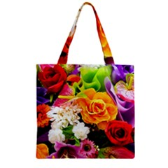 Colorful Flowers Zipper Grocery Tote Bag