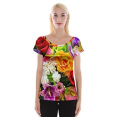 Colorful Flowers Cap Sleeve Tops