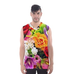 Colorful Flowers Men s Basketball Tank Top