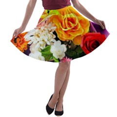 Colorful Flowers A Line Skater Skirt