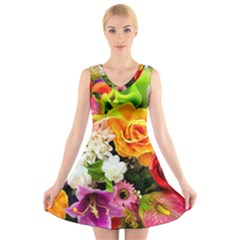 Colorful Flowers V Neck Sleeveless Skater Dress