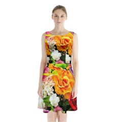 Colorful Flowers Sleeveless Waist Tie Chiffon Dress