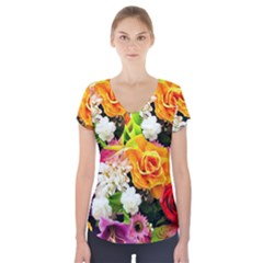 Colorful Flowers Short Sleeve Front Detail Top