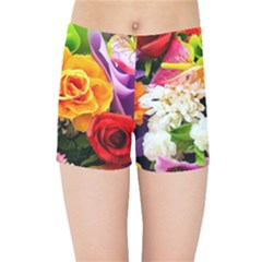 Colorful Flowers Kids Sports Shorts