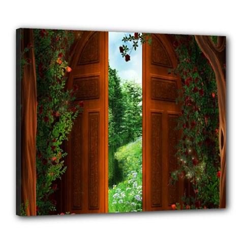 Beautiful World Entry Door Fantasy Canvas 24  X 20