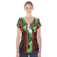 Beautiful World Entry Door Fantasy Short Sleeve Front Detail Top