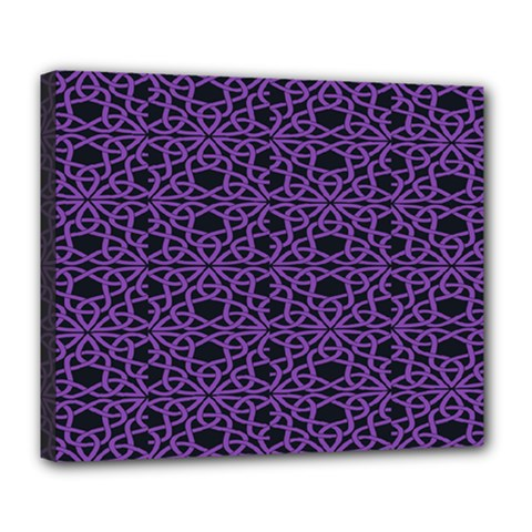 Triangle Knot Purple And Black Fabric Deluxe Canvas 24  X 20