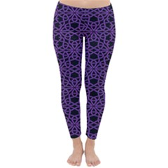 Triangle Knot Purple And Black Fabric Classic Winter Leggings