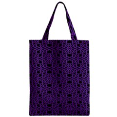 Triangle Knot Purple And Black Fabric Zipper Classic Tote Bag