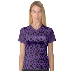 Triangle Knot Purple And Black Fabric V Neck Sport Mesh Tee