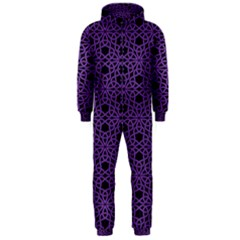 Triangle Knot Purple And Black Fabric Hooded Jumpsuit (men)