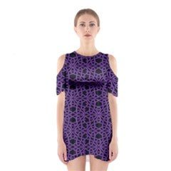 Triangle Knot Purple And Black Fabric Shoulder Cutout One Piece