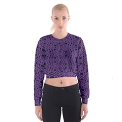 Triangle Knot Purple And Black Fabric Cropped Sweatshirt