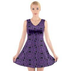 Triangle Knot Purple And Black Fabric V Neck Sleeveless Skater Dress