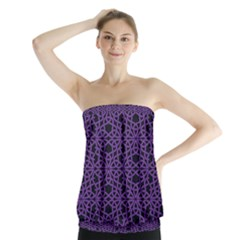 Triangle Knot Purple And Black Fabric Strapless Top