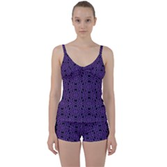 Triangle Knot Purple And Black Fabric Tie Front Two Piece Tankini