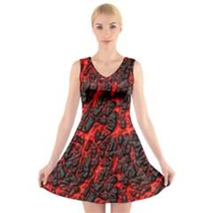 Volcanic Textures  V Neck Sleeveless Skater Dress