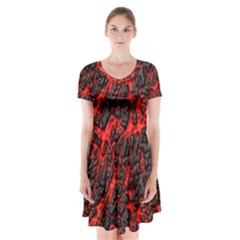 Volcanic Textures  Short Sleeve V Neck Flare Dress