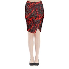 Volcanic Textures  Midi Wrap Pencil Skirt
