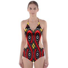 Toraja Traditional Art Pattern Cut Out One Piece Swimsuit