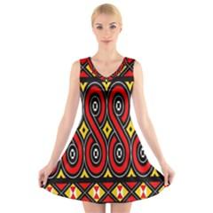 Toraja Traditional Art Pattern V Neck Sleeveless Skater Dress