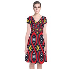 Toraja Traditional Art Pattern Short Sleeve Front Wrap Dress