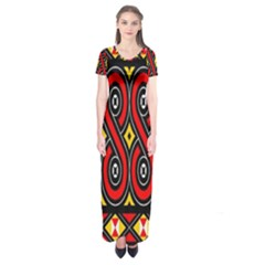 Toraja Traditional Art Pattern Short Sleeve Maxi Dress