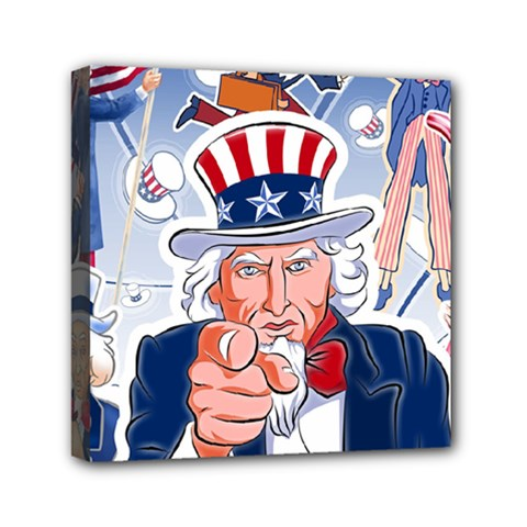 Independence Day United States Of America Mini Canvas 6  X 6