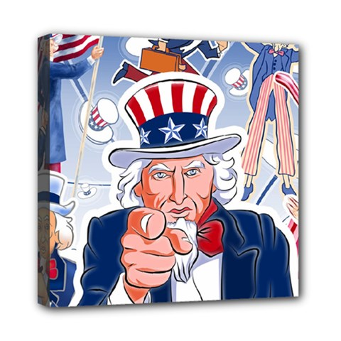 Independence Day United States Of America Mini Canvas 8  X 8