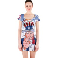 Independence Day United States Of America Short Sleeve Bodycon Dress