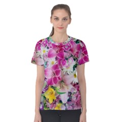 Colorful Flowers Patterns Women s Cotton Tee