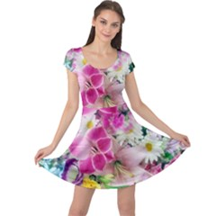 Colorful Flowers Patterns Cap Sleeve Dresses