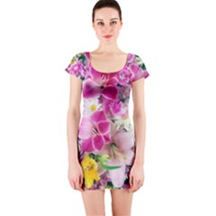 Colorful Flowers Patterns Short Sleeve Bodycon Dress