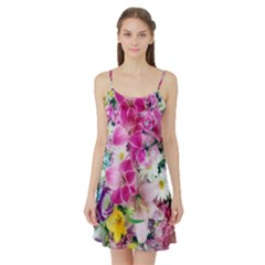 Colorful Flowers Patterns Satin Night Slip