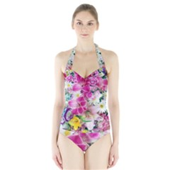Colorful Flowers Patterns Halter Swimsuit
