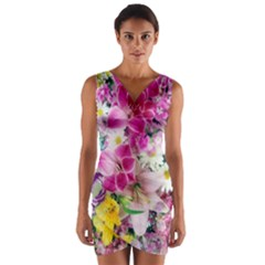 Colorful Flowers Patterns Wrap Front Bodycon Dress