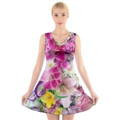Colorful Flowers Patterns V Neck Sleeveless Skater Dress