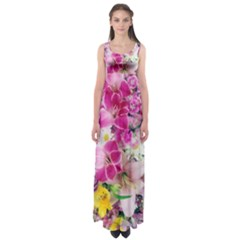 Colorful Flowers Patterns Empire Waist Maxi Dress