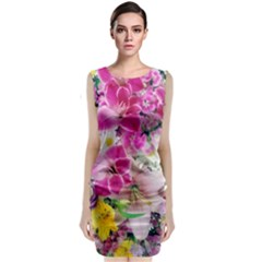 Colorful Flowers Patterns Classic Sleeveless Midi Dress