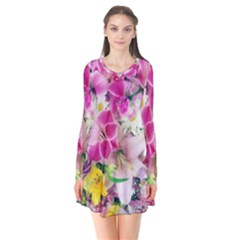 Colorful Flowers Patterns Flare Dress
