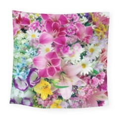 Colorful Flowers Patterns Square Tapestry (large)