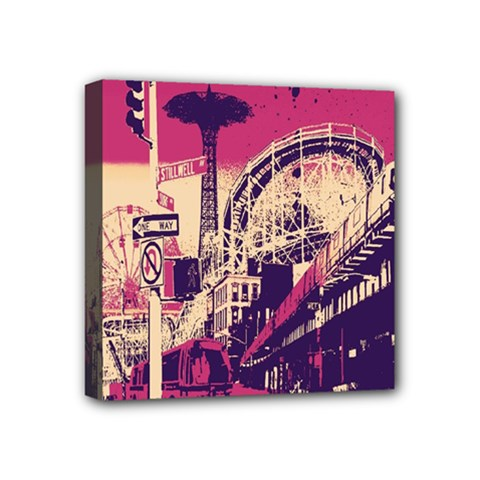 Pink City Retro Vintage Futurism Art Mini Canvas 4  X 4