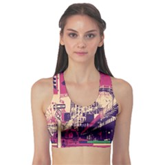 Pink City Retro Vintage Futurism Art Sports Bra