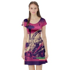 Pink City Retro Vintage Futurism Art Short Sleeve Skater Dress