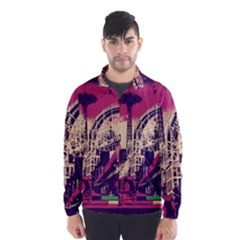 Pink City Retro Vintage Futurism Art Wind Breaker (men)