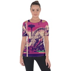 Pink City Retro Vintage Futurism Art Short Sleeve Top