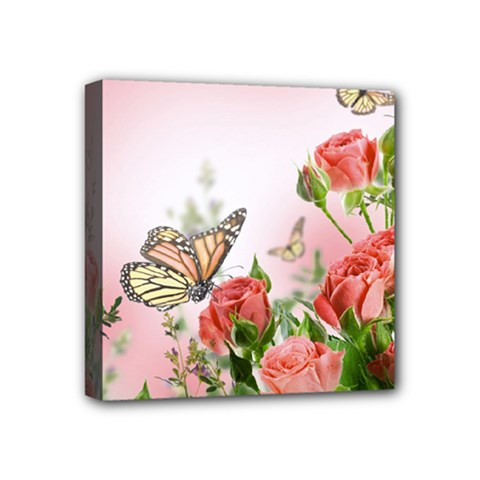 Flora Butterfly Roses Mini Canvas 4  X 4