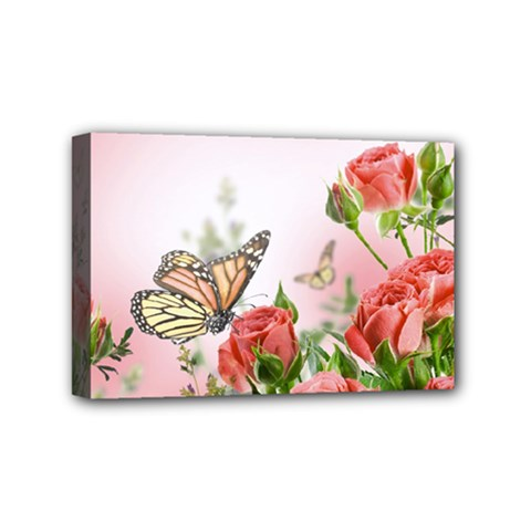 Flora Butterfly Roses Mini Canvas 6  X 4