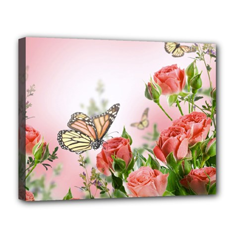 Flora Butterfly Roses Canvas 14  X 11